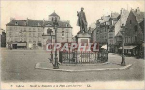 Old Postcard Caen Statue of Beaumont Place Saint Sauveur