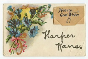 Hearty Good Wishes Harper Kansas Vintage Standard View Glitter Postcard