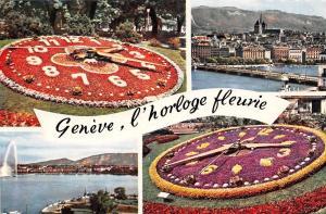 Switzerland Geneve, l'horloge fleurie, flowers, clock, blumen 1964