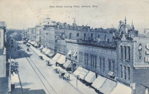 ASHLAND, Ohio, 1908; Main Street looking West, Store Fronts