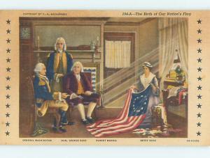 Unused Linen PRESIDENT GEORGE WASHINGTON WITH BETSY ROSS Philadelphia PA Q9260