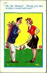 Vintage England UK GOLF Comic Postcard Risqué Artist-Signed TROW c-1960s Unused
