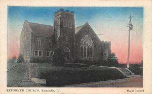 Kulpsville PA Reformed Church Nomis Publisher Hand Colored Postcard