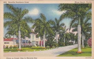 Florida Miami Beach Residence Street On Sunset Isle In Biscayne Bay 1941 Curt...