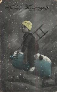 German New Year Fantasy Chimney Sweep Boy Flying on Bag of Money c1910