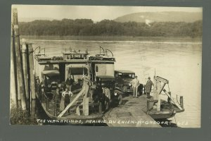 McGregor IOWA RP c1920s FERRY WANAMINGO Loading Cars MISSISSIPPI RIVER Steamboat