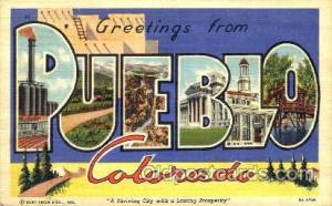 Greetings From Pueble, Colorado, USA Large Letter Town Towns Postcard Postcar...