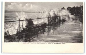 Early 1900s Where the Waves Break at Santa Barbara, CA Postcard