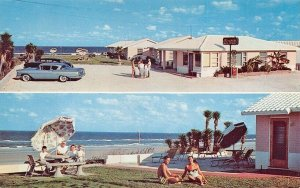 Daytona Beach FL Mirando Cottages On The Ocean Duo View Old Cars Postcard