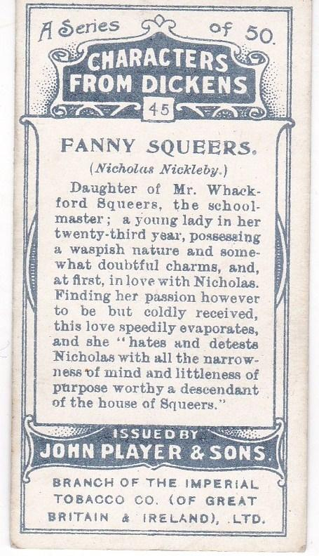 Cigarette Cards Players Characters From Dickens No 45 Fanny Squeers