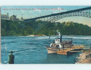 Divided-Back Rare View MAID OF THE MIST BOAT AT DOCK Niagara Falls NY HM7700