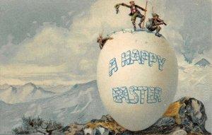 LP45 Easter Postcard Fantasy Egg Mountain Climbing
