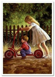 LITTLE GIRL & BOY ride a bike  JIM DALY KIDS ART Modern Postcard