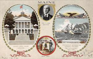Maine State House Seal Boat Multiview Antique Postcard K65633