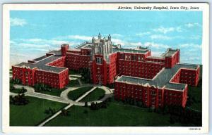 IOWA CITY, IA   Aerial View  UNIVERSITY HOSPITAL  ca 1940s Linen  Postcard