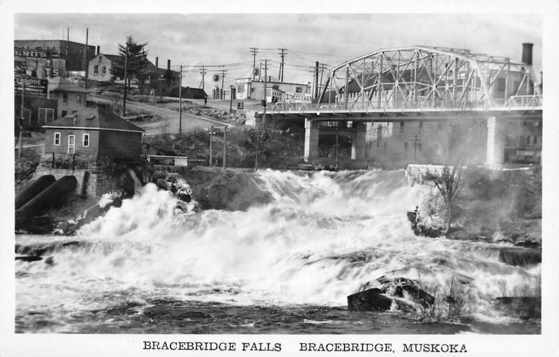 Bracebridge Muskoka~Falls~Bridge~Power House~Gas Station~Fish Bait~1940s RPPC