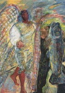 Sonia Lawson Tobias & The Angel 1986 London Gallery Painting Postcard