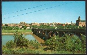 SK Panoramic Saskatchewan River SASKATOON Skyline - Chrome 1950s-1970s