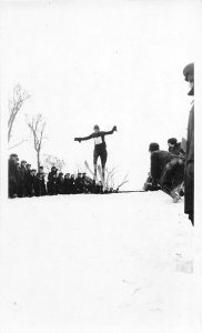 F80/ Fergus Falls Minnesota RPPC Postcard c1920s Ski Ramp Jump