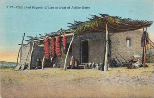 Mexico Chili Drying In Front Of Adobe Home 1941