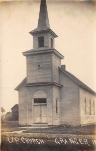 Granger Iowa~United Brethren Church~1912 Real Photo Postcard~RPPC