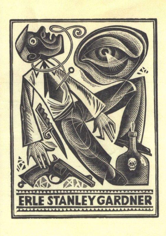 Erle Stanley Gardner Perry Mason Lawyer Book Plate Postcard