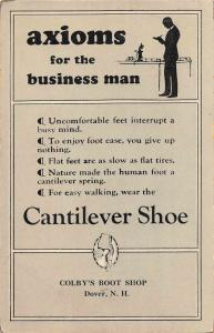 Dover New Hampshire Colby's Boot Shop Cantilever Shoe Ad Postcard J927892