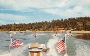 Brandy Wine Lake Michigan~3 Guys Waterskiiing~1959 Postcard
