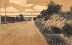 Glenwood Minnesota~Gravel Road to Town~Down Soo Hill~Handcolored~1917 Postcard