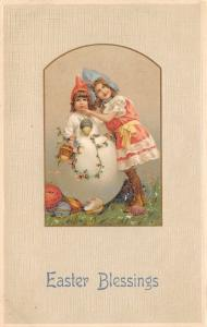 Easter~Dainty Victorian Girls~Toddler in Shell~Decorated Eggs~Emboss~Germany