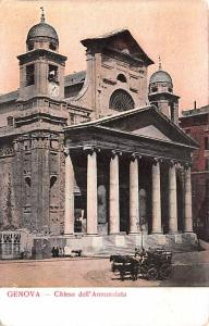 Italy Old Vintage Antique Post Card Chiesa dell'Annunziata Genova Unused