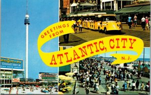 Postcard NJ New Jersey Atlantic City Greetings 3 Scene Banner Ream Boardwalk