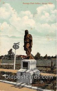 Statue Postcard Akron, OH, USA Portage Path Indian