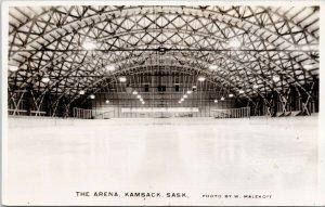 Kamsack SK The Arena Ice Hockey Rink Skating Unused Malekoff RPPC Postcard G34