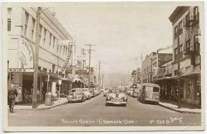 Tillamook OR Drug Store Street View Store Fronts RPPC Real Photo Postcard
