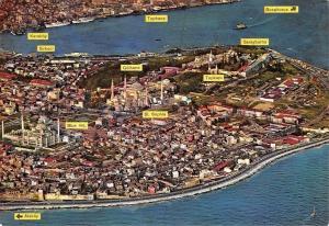 Turkey Istanbul The blue Mosque, St. Sophia and Tokpai, Sultanahmet Panorama