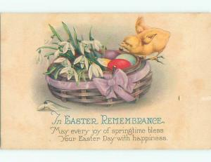 Pre-Linen easter CHICK STANDS ON BASKET OF FLOWERS AND EGGS J2600