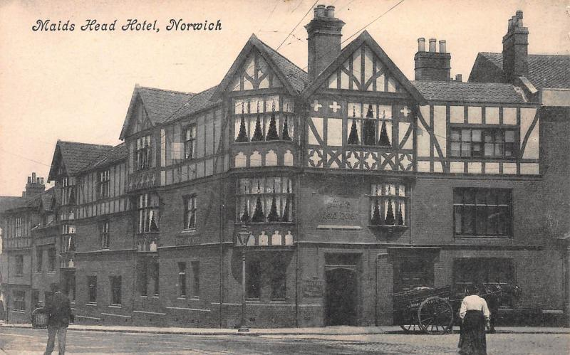 Maids Head Hotel, Norwich, England, early postcard unused