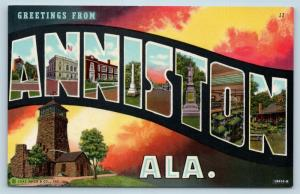 Postcard AL Anniston Large Letter Greetings From Anniston Alabama Vintage O08