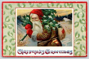 Christmas~Santa in Tattered Brown Robe~Winter Scene~Tree~Glossy Emboss~Saxony
