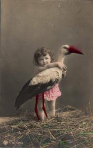 Stork With Baby Vintage postcard 02.81