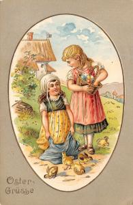 Easter~Country Girls Collect Colored Eggs~Feed Chicks~Gold Leaf Emboss~Shell~190