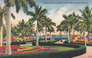 Florida Miami Scene In Bayfront Park Looking Towards Bay