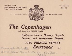 Princes Street Edinburgh Lingerie Dress Tailors Antique Scottish 1936 Card