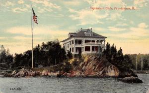 Providence Rhode Island~Squantum Club~House on Cliff~Flag~1916 Postcard