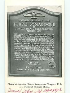 Vintage Post Card Jewish  Touro Plaque  Synagogue Newport  R I   # 4120