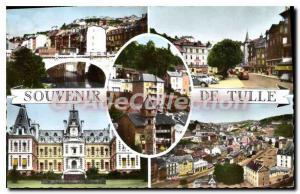 Postcard Old Bridge On The Tulle Correze La Place Mgr Berteaud prefecture