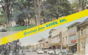 DOVER, Tree-Shaded Dover Green(Top), Loockerman Street(Bottom) 50-60s