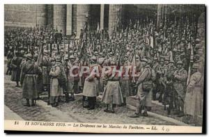 Old Postcard Militaria November 11, 1920 Flags on the steps of the Pantheon