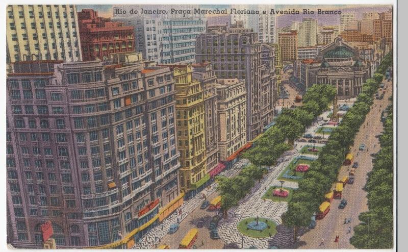 Brazil; Rio De Janeiro, Praca Marechal Floriano & Avenida Rio Branco, PPC c 50's